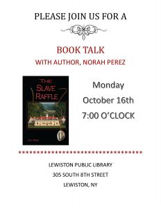 Book Talk with Local Author Norah Perez at Lewiston Library October 16, 2017 at 7pm